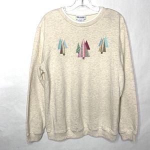 Blair Embroidered Christmas Tree Sweatshirt - M